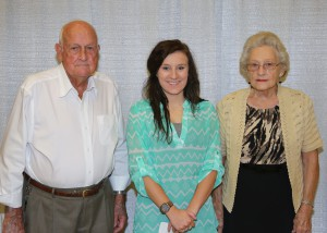 Among those recognized was recipient Halee Daniels, center, of Florence, who received the Joe Boardman Scholarship. With her are Bobby Boardman, left, and Virginia Boardman, right, both of Meridian.
