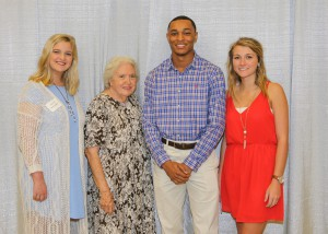 Among those recognized were recipients Carly Stocks, left, of Raymond, who received the Mamie Louise Miley Scholarship, Zavien Sutton, center right, of Brandon, who received the Dorothy Davis Miley Scholarship, and Sarah Malone, of Brandon, who received the Louise White Davis Scholarship. With them is Mamie Louise Miley, of Raymond.