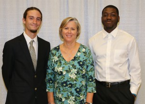 Among those recognized were recipients Payton Hubbard, left, of Raymond, who was awarded the NALP National Collegiate Landscape Scholarship, and Dequincy Hughes, right, of Liberty, who was awarded the Green Industry Scholarship. With them is Martha Hill, of Raymond.
