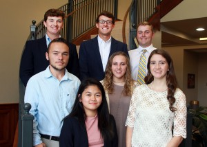 Inductees include, front row, from left, Jemylle Grace S. Morato, Anna Katherine Grace, both of Richland; second row, Jason Humphrey, of Florence, Lauren Frazier, of Flowood; top row, Tyler Trussell, Kyle Singleton, and Dylan Henderson, all of Brandon. (Hinds Community College/Tammi Bowles)