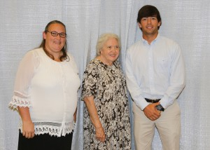 Among those recognized was recipient Meri Ruth McKinion, left, of Brandon, who received the Robert Miley Scholarship, and Vincent Davis, right, of Benton, who received the H.H. Davis Memorial Scholarship. With them is Mamie Louise Miley, center, of Raymond.
