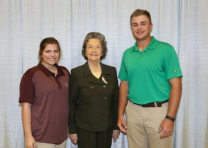 Among those recognized were recipients Katherine Smith, left, of Jackson, who received the Rubye Maxwell Moss Scholarship, and Jason Dalton, right, of Byram, who received the William M. Moss Scholarship. With them is Rubye Maxwell Moss, of Jackson.