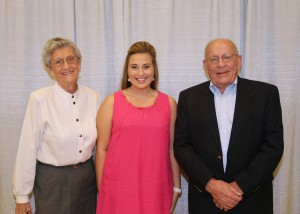Among those recognized were recipients Among those recognized was recipient Kelsey Sellers, center, of Raymond, who received the Ruth Roberts Carter Nursing Scholarship. With her are Barbara Miley, left, and Harold Miley, right, both also of Raymond.