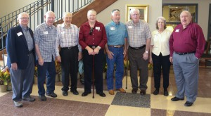 Representing the classes of the 1950s were, from left, Mark Chaney of Vicksburg, 1950; Ray Boyd of Bolton, 1953; John Emory of Jackson, 1954; Douglas Moore of Jackson, 1954; Ross Alman of Lampe, Mo., 1958; Homer Boyd of Learned, 1956; Peggy Fugate Blalock of Brandon, 1958 and Pruitt Blalock of Brandon, 1958.