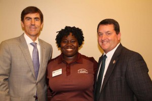 Sen. Briggs Hopson of Vicksburg, left, and Rep. Alex Monsour of Vicksburg, right, with Hinds Community College student Destinie James, also of Vicksburg. James is a member of the college's Hinds Connection student recruiting group.