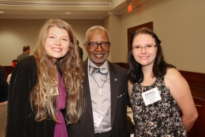 Joanna Stevens of Terry, left, and Abigail Baker of Clinton, right, are with Sen. Hillman Frazier of Jackson at the Nov. 17 Hinds Community College legislative luncheon. Stevens and Baker are members of the college's Student Voices advocacy group.