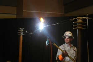 Drew Pruitt with Entergy cooked a hot dog with electricity as part of a demonstration to more than 1,200 area students at the Nov. 8 Career Exploration Day at Hinds Community College's Rankin Campus.