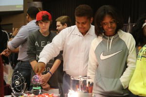 Richland eighth-graders Lake Cooper, left, and Isaiah Hall and McLaurin eighth-grader Damara Mason were impressed by the electronics demonstrations at Hinds Community College Career Exploration Day on Nov. 8.