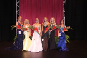 From left, Catherine Lloyd, Courtney Jamison, Shelby Lynn Simmons (Most Beautiful), Meagan Barnhart, Molly Hunter, Natalie Scurlock. (Hinds Community College/April Garon)