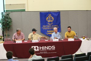 A panel of metro Jackson-area beekeepers answered questions and spoke of the beekeeping trade at the Bee Informed workshop Nov. 9 at Reeves Hall at Hinds Community College Raymond Campus. From left, Dr. Jeff Harris, John Hackney, Harold Watson and Matthew Giammalvo. (Hinds Community College/April Garon)