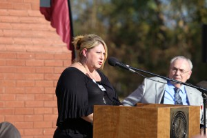 Heather Long, a third-semester Associate Degree Nursing student at Hinds Community College, speaks during a ceremony Nov. 18 officially opening Community College Boulevard to the Career-Technical Building at Hiinds' Rankin Campus. (Hinds Community College/April Garon)