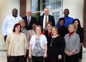 """Fall 2016 Hinds Heroes and others, front row, from left, Lisa Morgan, Jo Ponder, Anna """"Shelley"""" Hearn, Joy Rhoads; second row, from left, Cindy Smith West, Deloris Garner-Knight, Kelly Reeves, Sharon Hudson, Cindy Johnson; back row, from left, Reginald Dillon, Hinds Board of Trustees President Paul Breazeale, Hinds President Dr. Clyde Muse, Melvin Christian. Not pictured is Denise Taylor. (Hinds Community College/Tammi Bowles)"""