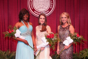 From left, second runner-up Hope Ragan; Miss Hinds Community College 2017 Abigail Walters, both of Vicksburg; and first runner-up Bethanie Myers, of Walnut Grove. (Hinds Community College/April Garon)