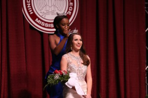 Former Miss Hinds Community College 2016 Courtney Helom crowns Abigail Walters, of Vicksburg, as Miss Hinds 2017 during the year's pageant Nov. 17. The pageant is an official preliminary pageant of the Miss America Pageant program. (Hinds Community College/April Garon)