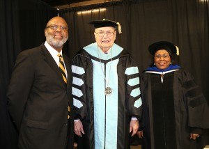 Hinds Community College held three graduation ceremonies on Dec. 16 at the Muse Center on the Rankin Campus. From left are graduation speaker Dexter Holloway, assistant executive director for Workforce and Economic Development with the Mississippi Community College Board; Hinds President Dr. Clyde Muse and Dr. Joyce Jenkins, retired Hinds Community College dean for Raymond Campus Career-Technical Education, who was the grand marshal and mace bearer for the nursing and allied health graduation ceremony.