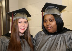 Jessica Pierce of Morton, left, and Ametra Enochs of Jackson graduated from the Health Care Assisting program at Hinds Community College on Dec. 16 in a ceremony at the Muse Center on the Rankin Campus.