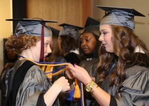 Rachel Spell of Terry, left, Ciera Stephens of Pearl receive Associate Degrees in Nursing from Hinds Community College at a ceremony on Dec. 16 at the Muse Center on the Rankin Campus.