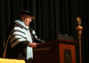 Hinds Community College President Dr. Clyde Muse addresses nursing and allied health graduates at the Dec. 16 ceremony at the Muse Center on the Rankin Campus.