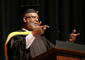 Dexter Holloway, assistant executive director for Workforce and Economic Development with the Mississippi Community College Board, addresses nursing and allied health graduates on Dec. 16 at Hinds Community College's Rankin Campus.