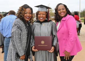 Shameeka Williams of Jackson, center, graduated from Hinds Community College on Dec. 16 with a Practical Nursing degree. With her are Maya Bostic, left, and Vernita Johnson, right.