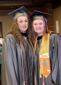 Rachel Junkin of Clinton, left, and Roxi Odom of Terry received Associate Degrees in Nursing on Dec. 16 from Hinds Community College in a ceremony at the Muse Center on the Rankin Campus.
