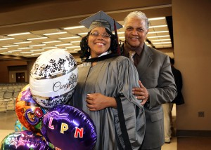 Sabrina Foucher of Ridgeland celebrates receiving her Practical Nursing degree from Hinds Community College on Dec. 16 with her dad Wallace Foucher.