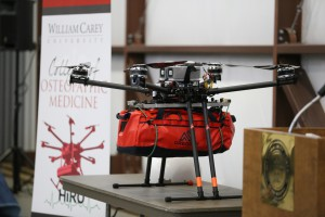 An Unmanned Aerial Vehicle, popularly known as a drone, is equipped with a telemedical package as part of the Telemedical Drone Project, known as HiRO. (Hinds Community College/April Garon)