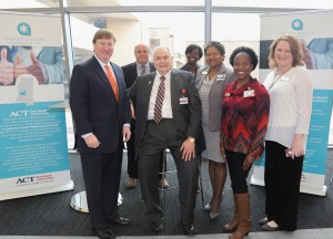 From left, Lt. Gov. Tate Reeves, Vicksburg-Warren Campus Dean Marvin Moak, Dr. Clyde Muse, District Director of Adult Basic Education Carla Causey, Associate Vice President of Career and Technical Education Sherry Franklin, District Director of WIN Education Center Angela Hayes, District Director of Integrated Pathways and coordinator of Adult Basic Education Dr. Robin Parker. (Hinds Community College/April Garon)