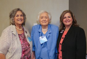 April Garon/Hinds Community College Retired Hinds nursing learning lab manager Dene Bass Cook, left, Leola Cowart and Renee Cotton, district director of marketing and community relations, were on hand for the Gilfoy School of Nursing Alumni meeting, which included a presentation about the new Dennis D. and Leola K. Cowart Endowed Scholarship/Mississippi Baptist Hospital and Gilfoy School of Nursing Alumni Scholarship Scholarship to be awarded at Hinds Community College.