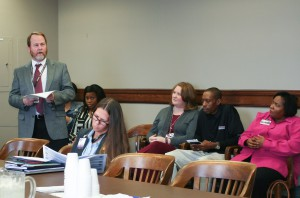 David Creel, district Director of Manufacturing Training at Hinds Community College, at left, speaks to the House Workforce Development Committee during a hearing on the MI-BEST program on Feb. 14, 2017. Seated in the foreground is state Rep. Ashley Henley, R-Southaven. From center-right, Dr. Robin Parker, assistant dean of Career/Technical Education at the Raymond Campus; Napoleon Miller, MI-BEST student; and Beverly Trimble, MI-BEST coordinator at the Utica Campus. (Hinds Community College/Cathy Hayden)