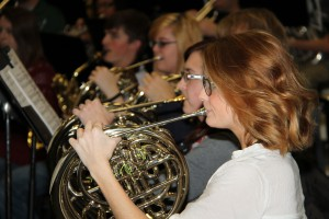 French horn players play their parts during a concert of the Hinds Community College Wind Ensemble. (Hinds Community College/File)
