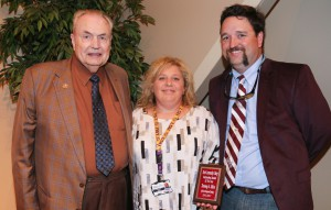 Nancy Allen, of Florence, center, was among Hinds Community College students recognized with a departmental award April 21. Allen received an Outstanding Student Award for Agribusiness Management Technology, presented by Hinds President Dr. Clyde Muse, left, and instructor Chad Davis, right. (Hinds Community College/April Garon)