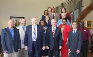Front row, from left, Brent Johnson, Hinds President Dr. Clyde Muse, Hinds Board of Trustees President Paul Breazeale, Dr. Ben Cloyd; second row, from left, Doris McClure, Sherry Franklin, Christie Adair, Sue Steen, Pamela Williams-Bolden, Gerald Collins, Wendy Barnes and Judy Isonhood. (Hinds Community College/April Garon)