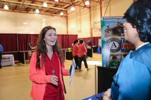 Hannah Reihl, who is studying to be a hair stylist at Hinds Community College, speaks with Bridget Dedeaux, a human resources service partner at University of Mississippi Medical Center, during the 2017 District Job Fair at Hinds Community College Raymond Campus. ((Hinds Community College/April Garon)