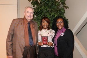 Lakendra Cork, center, of Louise, was among Hinds Community College students recognized with a departmental award April 21. Cork received an Outstanding Student Award in Early Childhood Technology, presented by Hinds President Dr. Clyde Muse, left, and instructor Shaunta Durr, right. (Hinds Community College/April Garon)