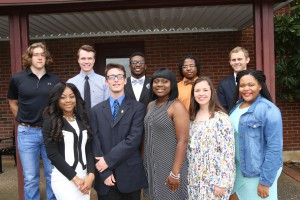 First row: Denicia Diew, of Yazoo City; Xander Mosley, of Prentiss; Ayana Jones, of Philadelphia; Haley Smith, of Kosciusko; Joy Abby Coats, of Collins; Second row: Brock Thompson, of Flora; William Douglas Lum, of Port Gibson; Tarren Smith II, of Greenwood; Aaron Griffin, of Richland; Jennings Mills, of Bogue Chitto.