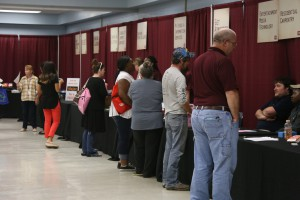 Attendees seek information at College Night at Hinds Community College Vicksburg-Warren Campus April 18. (Hinds Community College/April Garon)