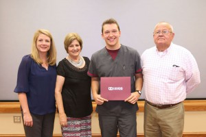 The McCulloch family presented the annual Carla McCulloch nursing scholarship to Tanner Gray of Richland. Pictured are family friend Carla Smith of Madison, left, Carol McCulloch, Gray and Larry McCulloch.