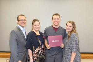 Tanner Gray of Richland is the recipient of the annual Carla McCulloch nursing scholarship at Hinds Community College. With him are family members, from left, Michael Gray, Angie Gray, Tanner Gray and sister Brooklyn Gray.