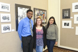 2-D DESIGN/PRINTMAKING winners, from left, Rashad Plumpp, of Byram, third place ; Abbigayle Ainsworth, of Raymond, first place ; Dipannita Saha, of Jackson, second place (Hinds Community College/April Garon)