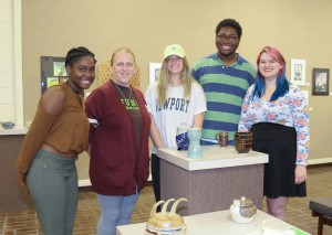 CERAMICS/3-D DESIGN winners, from left, Charity Lockridge, of Vicksburg, first place and honorable mention; Susan Moore, of Crystal Springs, third place; Vallye Russell, of Vicksburg, honorable mention; Reginald Pickering, of Clinton, second place; Mary-Saphrona Grey, of Yazoo City, honorable mention (Hinds Community College/April Garon)