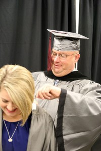 William Hood of Pearl, left, and Sandra Wren of Raymond received their degrees in Physical Therapist Assistant on May 12 at Hinds Community College's nursing and allied health graduation ceremony.