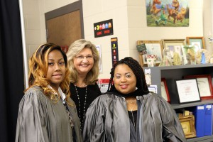 D'Jimetria Dixon of Georgetown, left, Chrissy Clark and Candance Bunton of Bolton celebrate the Medical Assisting Technology graduation on May 12 at Hinds Community College.