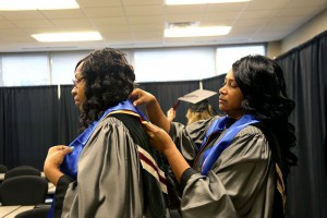 Katherine Randolph of Vicksburg and Marshieon Leon of Terry received degrees in Health Care Assisting from Hinds Community College on May 12.