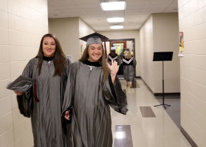 Nasus Nowell of Vicksburg, left, and Allison Hux of Magee received degrees in radiology from Hinds Community College on May 12.