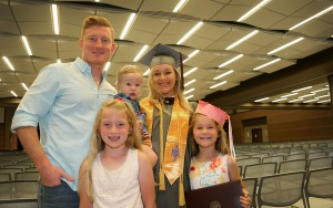Kayla Null and her family of Brandon celebrate her graduation from Hinds Community College on May 12. She received a degree in radiology.