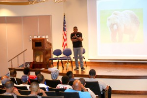 Adonis Lenzy, of Paradigm Shift, speaks to high school students and others at an M2M Leadership Summit June 5 at Eagle Ridge Conference Center at Hinds Community College Raymond Campus. (Hinds Community College/April Garon)