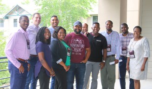 "Front row, from left, April Reynolds, M2M English instructional guide, Aleisha Escobedo, M2M Director, Derrick Sier, Adonis Lenzy, both of Paradigm Shift, Robert Smith, M2M Academic Success coach, Felicia Garner, M2M administrative assistant; back row, from left, Keith Williams, M2M Academic Success coach, Ryan Eller, Mikey Manghum, Gregory ""Heady"" Coleman, all of Paradigm Shift, Ahmad Smith, M2M Recruitment and Outreach coordinator (Hinds Community College/April Garon)"