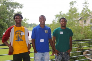 Wingfield High School students Paul James Curry, a junior, Dequavious Guice, a senior and James Stubb, a junior, attended the M2M Leadership Summit held June 5-6 at Eagle Ridge Conference Center on the Raymond Campus. (Hinds Community College/April Garon)
