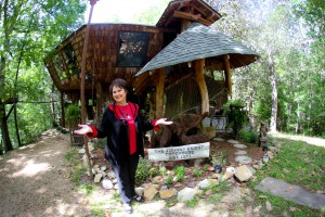Gloria Patrick Lucas, in front of the house her uncle built and she purchased in 2015